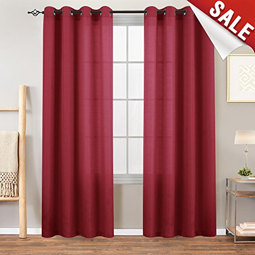 Privacy Semi Sheer Curtains for Bedroom Window Curtains 84 inches Long Casual Weave Linen Textured Living Room Window Treatment Set Burgundy Red 2 (Red Window Treatment)