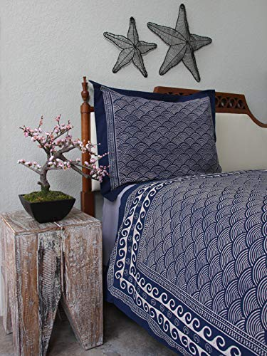 (Saffron Marigold Pacific Blue Luxury Queen Duvet Cover | Hand Printed | 100% Cotton | Reversible - Double Sided | Asian Inspired Oriental Coverlet | Coastal Wave Nautical Printed Comforter Covers)