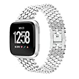 Huangou for Fitbit Versa Watch Wrist Straps,Accessory Replacement Fashion Unique Stainless Steel Watch Band Wristband Sport Bracelet for Fitbit Versa (5.12-8.07nches, Silver)