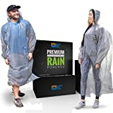 Blake Pro Gear® Rain Guard Ponchos Premium Quality (5 Individually Packed) Disposable and Reusable Waterproof Raincoat with Hood Straps and Sleeves - One Size Fit All for Men and Women