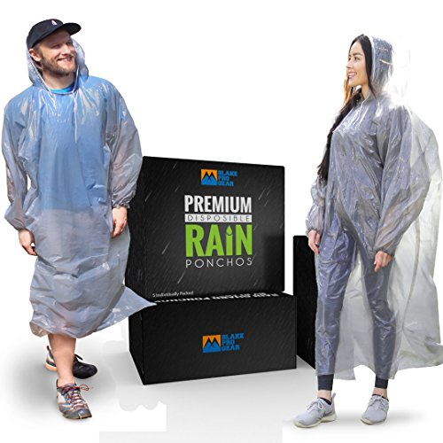 Blake Pro Gear® Rain Guard Ponchos Premium Quality (5 Individually Packed) Disposable and Reusable Waterproof Raincoat with Hood Straps and Sleeves - One Size Fit All for Men and Women by Blake Pro Gear®