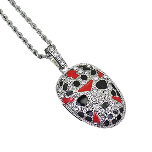 Jewelrysays Hip Hop Jewelry Crystal Painted Face Pendant Iced Out Chinese Style Necklace Gift (Jewelry Crystal Hip Hop)