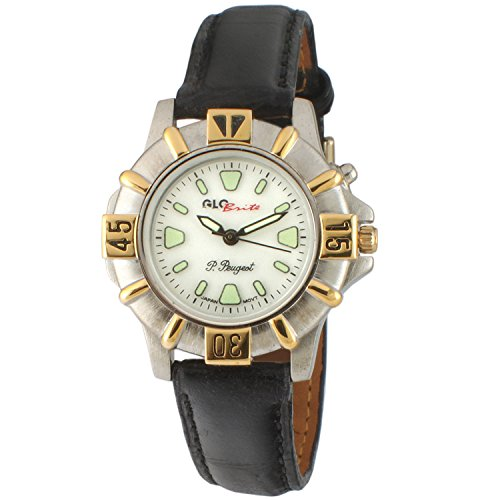 Peugeot Womens Glow in the Dark Two Tone Black Leather Strap Watch