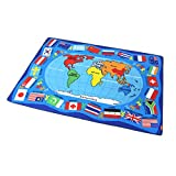 Encounter G Around The World Carpet Soft Toddler Learning Toys Ideal for Children Crawling and Sports Activities Blue Mats Cartoon World Map Mats,WorldMap1,133190CM