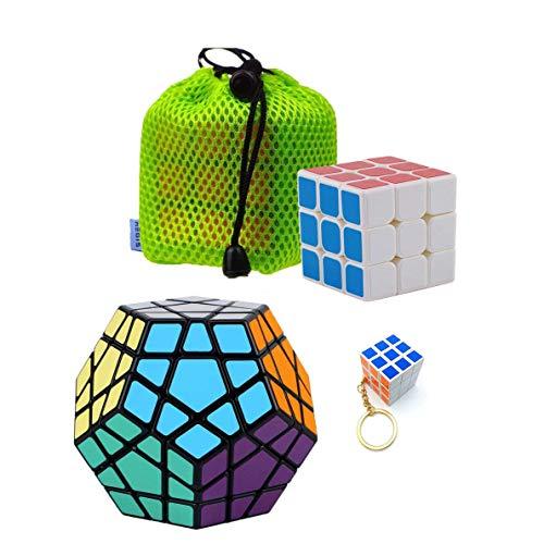 Aegis Rubik Cube, 3 Pack Magic Rubik Cubes 3x3 Speed Cube & Keychain Rubik Cube & 3x3 Megaminx Speed Cube; Easy Turning; Anti-Pop Structure and Durable Magic Cube
