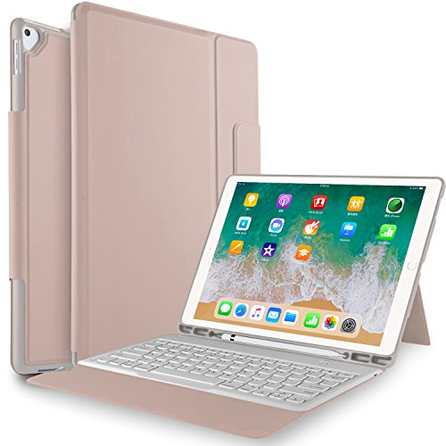 IVSO Keyboard Case for ipad pro 12.9-Lightweight One-Piece Wireless Keyboard Stand Case Cover with Pencil Slot for Apple ipad pro 12.9 1st Gen 2015 ipad pro 12.9 2nd Gen 2017 Tablet(Rosegold)