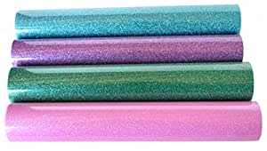 Firefly Craft Glitter Heat Transfer Vinyl For Silhouette And Cricut, 12 Inch by 20 Inch, Spring 4 Pack