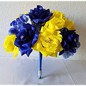 Royal Blue Yellow Rhinestone Rose Hydrangea Bridal Wedding Bouquet & Boutonniere 100