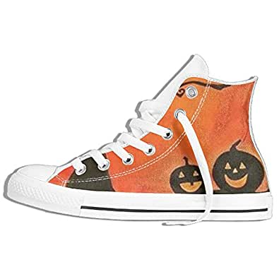 Halloween Pumpkin Custom Lace-up High Top Sneakers Unisex Cavas Shoes