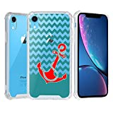 iPhone XR Case, Beyondcell Clear TPU + PC 4 Corner Case + Wireless Charging Compatible Design - Red Anchor/Chevron