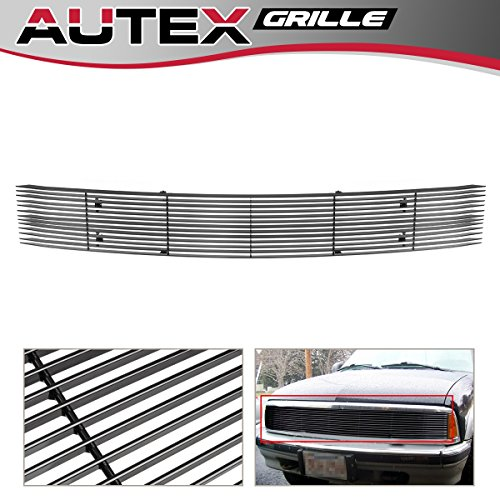 AUTEX Phantom Style Black Horizontal Main Upper Billet Grille Insert C85233H Compatible With 1994 1995 1996 1997 Chevy S10, 1994-1997 Chevy Blazer Grill