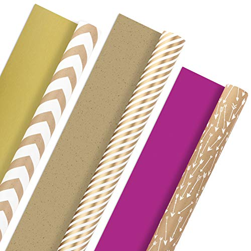 Gold Striped Paper (Hallmark Reversible Wrapping Paper, Kraft Gold (Pack of 3, 120 sq. ft. ttl.) for Christmas, Hanukkah, Holidays, Birthdays and)
