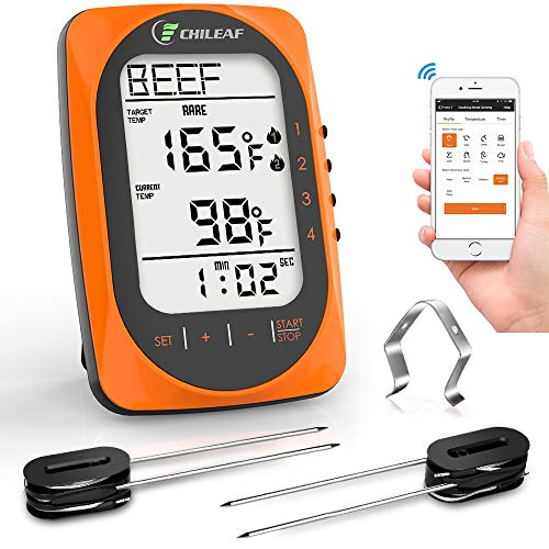 CHILEAF Wireless BBQ Thermometer – Meat Thermometer with 4 Probes, App Remote, Instant Read LCD Display, Timer & Alarm Mode for Smoker Grilling Kitchen Oven, Support iOS & Android, 300 Feet Range