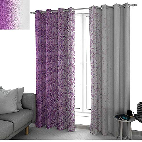 Art Mosaic Tile Panel - bybyhome Magenta Microfiber Window Panel Pair Computer Art Style Tile Mosaic Squared Complex Pixel Party Mix Artistic Concept Window Curtain 2 Panel Purple White W84 x L84 Inch
