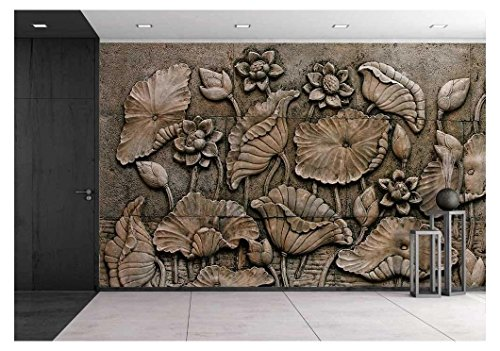 wall26 - Low Relief Cement Thai Style Handcraft of Buddhism - Removable Wall Mural | Self-adhesive Large Wallpaper - 100x144 inches by wall26