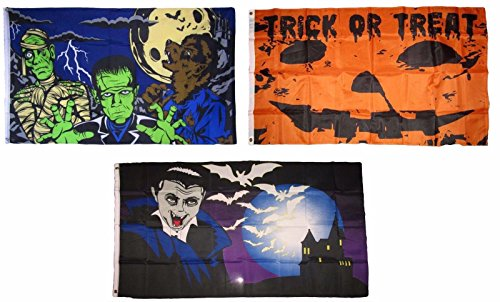ALBATROS 3 ft x 5 ft Happy Halloween 3 Pack Flag Set #26 Combo Banner Grommets for Home and Parades, Official Party, All Weather Indoors Outdoors]()