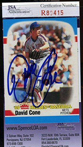 David Cone Hand Signed - DAVID CONE 1989 FLEER HEROES OF BASEBALL Hand Signed JSA Certified Autographed Authentic