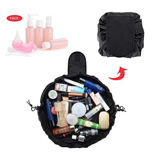 HYCC Lazy Cosmetic Bag Portable Waterproof Large Capacity Makeup Toiletry Drawstrings Bag With Travel Bottles - Black (1 Pack)