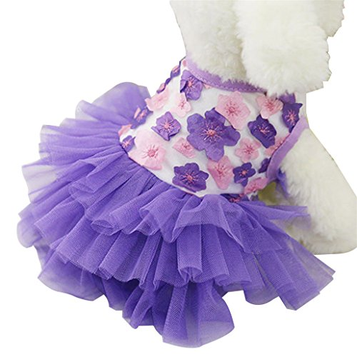 Catnew Pet Clothes Puppy Sweet Flower Gauze Skirt Princess Tutu Dress -Purple (Princess Peach Dog Costumes)