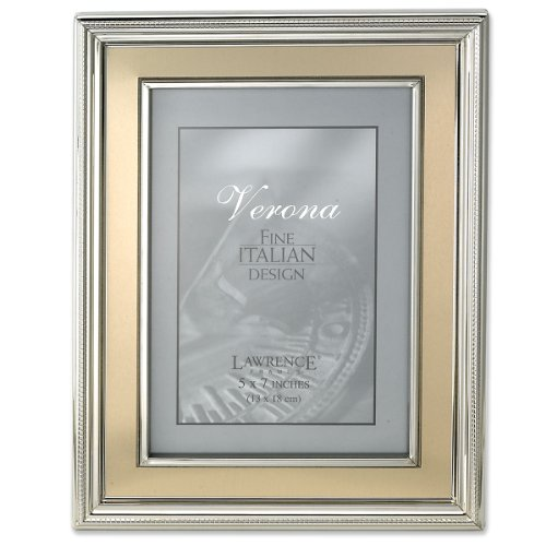 (Lawrence Frames 5 by 7-Inch Silver Plated Metal Picture Frame, Brushed Gold Inner Panel)