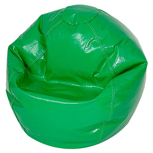 Bean Bag Chair Medium Vinyl Comfort Seating Furniture for Kids Bedroom Living Room Durable Easy to Clean, Great for Reading Playing Video Games Watching TV and Relaxing. (Green) - Black Wet Look Bean Bag
