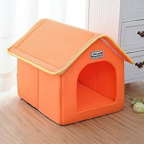 WAA extraíble y lavable mascota simulación - Caseta de perro de la perrera gato camada, Amarillo, small: Amazon.es: Hogar