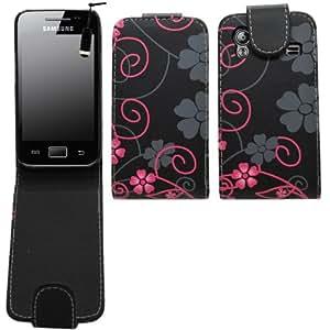 SAMRICK - Samsung S5830 Galaxy Ace (Galaxy Ace Hugo Boss) - Florales Especialmente Diseñado Maletín Abatible De Cuero Con Protector De Pantalla & Paño De Microfibra & Negro (Black) Mini Lápiz Capacitivo Alta - Negro Rosado (Black Pink)