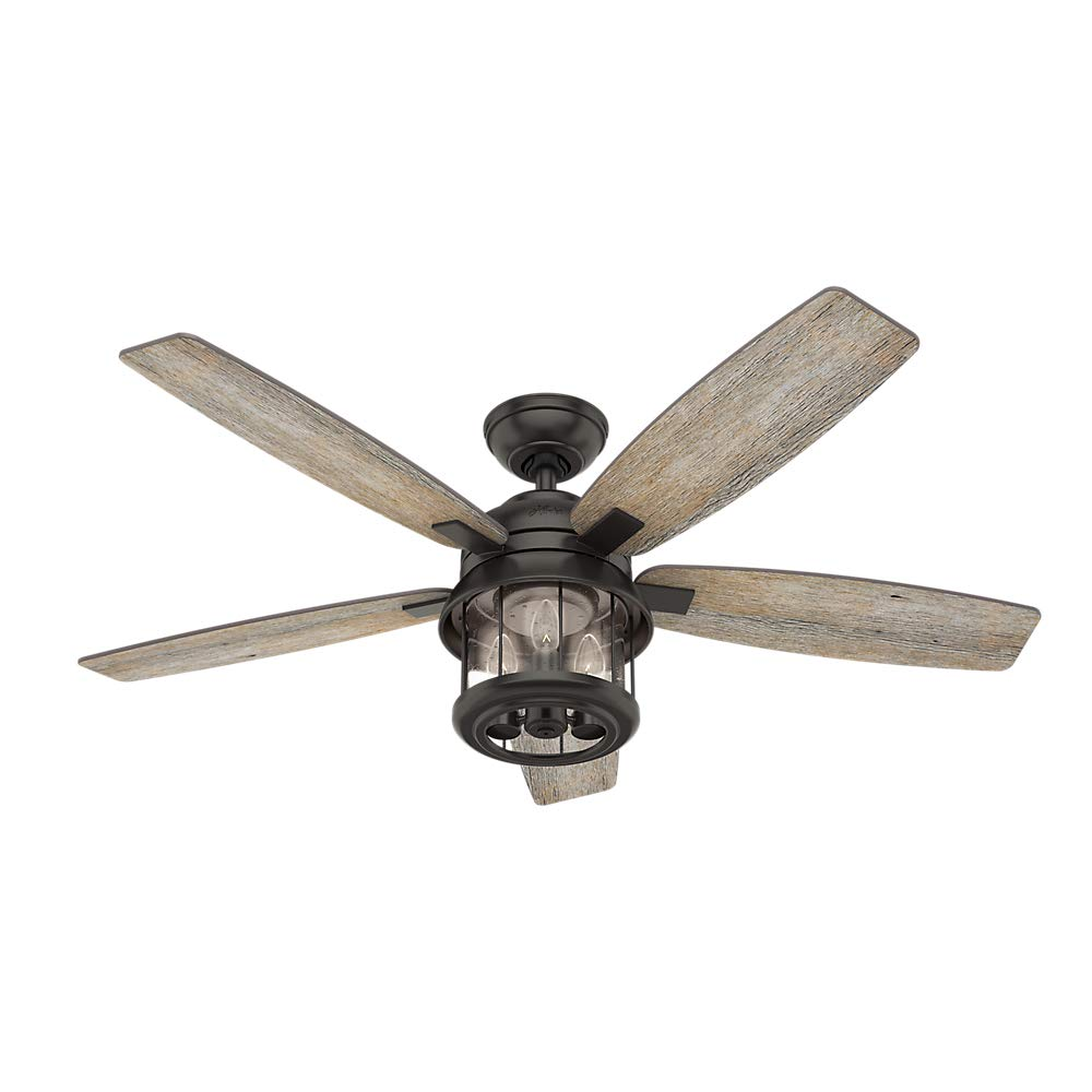 Hunter Indoor Outdoor Ceiling Fan with light and remote control – Coral 52 inch, Nobel Bronze, 59420