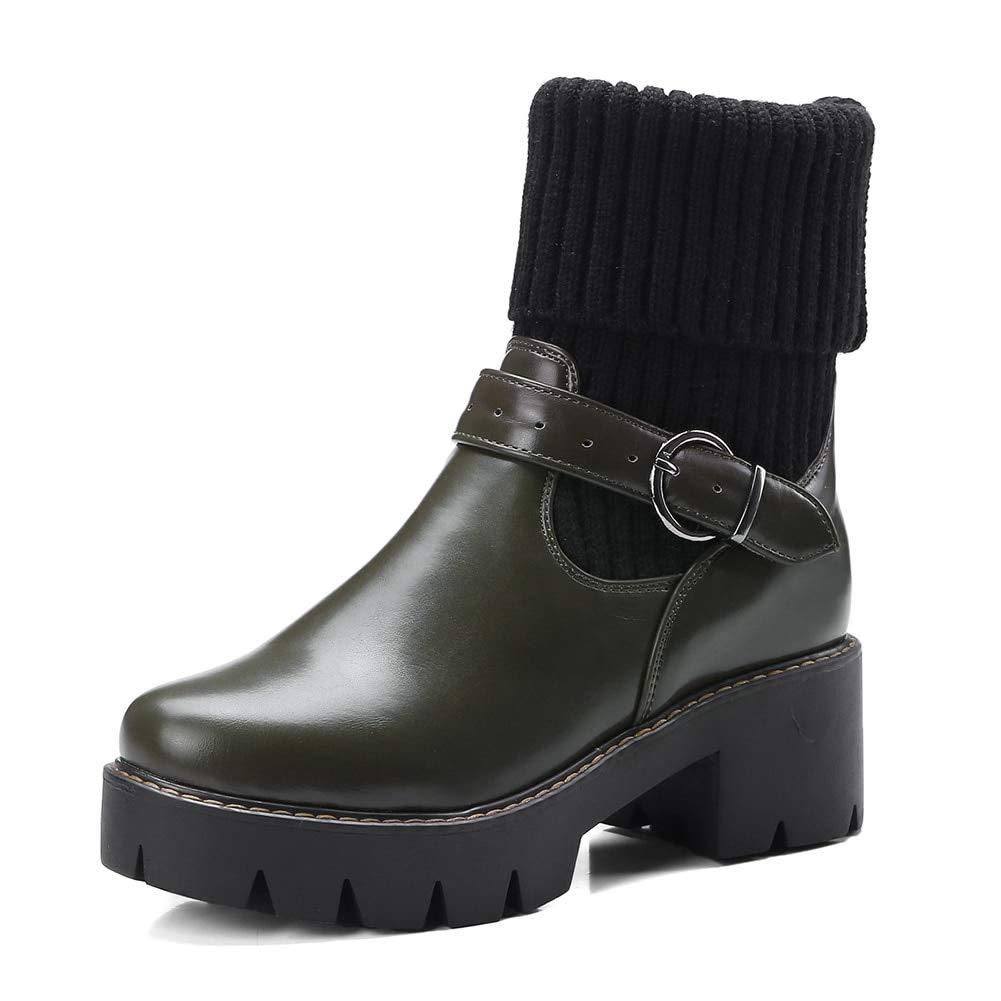 HOESCZS Large Dimensione 32-43 32-43 32-43 Slip On scarpe Donna Stivali Tacco Quadrato Solido Nero verde Stivaletti Donna Scarpe Donna 704141