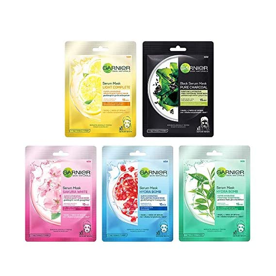 Garnier Skin Naturals Face Serum Sheet Mask (Light Complete + Hydra Bomb Blue + Sakura White + Hydra Bomb Green