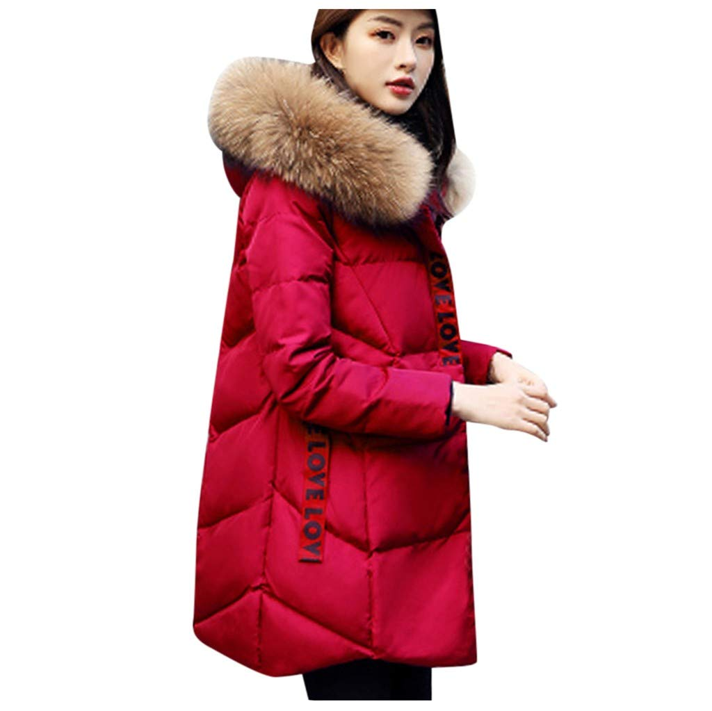 ✷ HebeTop ✷ Women's Down Coat with Fur Hood with 90% Down Parka Puffer Jacket Wine by ▶HebeTop◄➟HOT SALES
