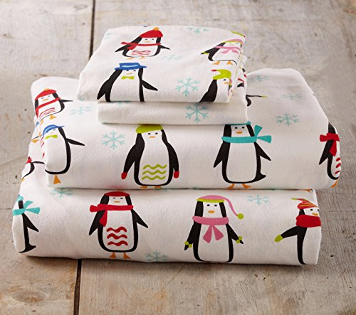Stratton Collection Extra Soft Printed 100% Cotton Flannel Sheet Set. Warm, Cozy, Lightweight, Luxury Winter Bed Sheets. By Home Fashion Designs Brand. (Queen, Penguins) (Flannel Printed)