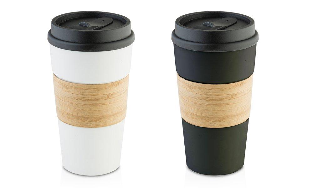 Hamilton Beach ceramic Wood Finish Travel Mug Set (2 Pack), 14 oz, Black/White