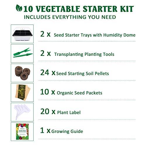 KORAM Vegetable Garden Starter Kit - 10 Organic Salad Seeds Organic Growing Kit DIY Gardening Starter Set with Everything a Gardener Needs for Growing Tomatoes Peppers Broccoli Cucumber Beets Kale by KORAM (Image #2)