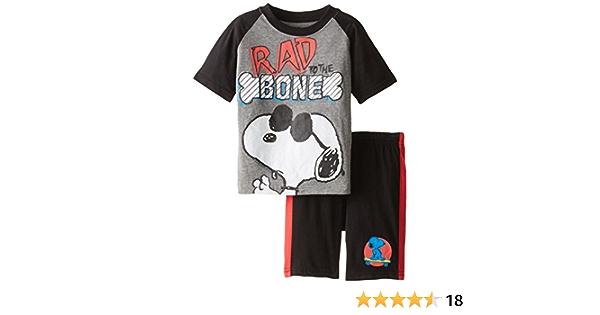 Peanuts Boys Snoopy Short Sleeve T-Shirt and Jersey Short 2-Piece Set