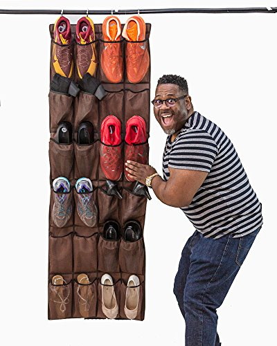 Mirella's House LARGE SHOE ORGANIZER Door Shoe Rack, Sneaker Rack, Men's Shoe Organizer for Big Shoes to Neaten Up Your Closet and as an Entryway Organizer (Bison Brown) (Door Rack Show)