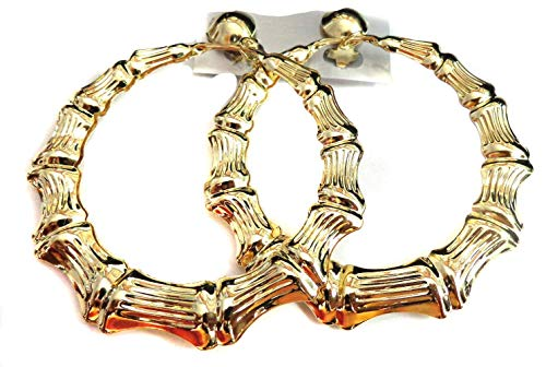 Clip-on Earrings Gold Bamboo Hoop Earrings 3 inch Hoops Non Pierced Ears