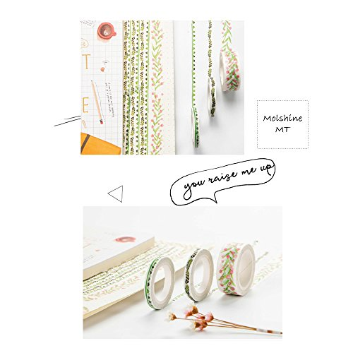 Molshine Set of 6 Decorative Japanese Washi Masking Adhesive Tape -Endless Green Series - Collection, (2 rolls 30mm X 5m , 2 rolls 15mmX7m , 2 rolls 5mmX7m) for DIY (CL016EG) Photo #3