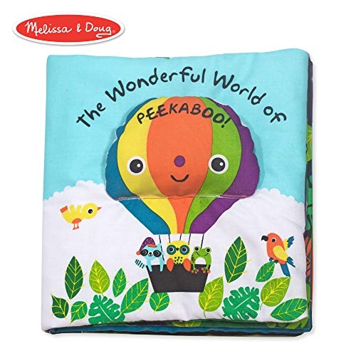 Melissa & Doug Soft Activity Book - The Wonderful World of Peekaboo  (Developmental Toys, Interactive Cloth Lift-the-Flap Baby Book, 5 Animals,  Machine