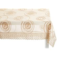 "Violet Linen VL-80402-MARVELOUS-GL-6 Marvelous Lace Tablecloth with Embroidered Round Scroll Design, 70"" x 120"", Gold"