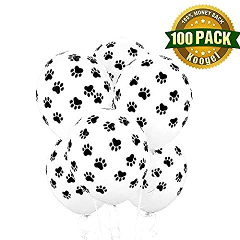 Koogel 100 PCS Paw Party Balloons Paw Print Latex White Balloons 12 inch - Picture Paw Print