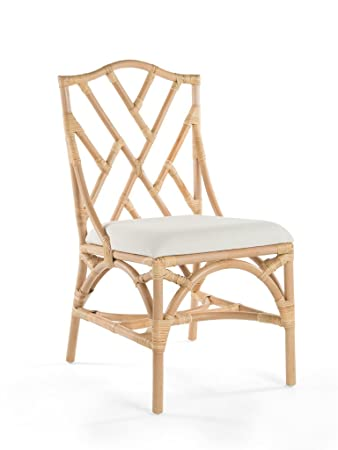 Rattan Chippendale Upholstered Dining Chair, Natural Color, Set Of 2 Chairs