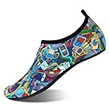 Water Shoes for Womens and Mens Summer Barefoot Shoes Quick Dry Aqua Socks for Beach Swim Yoga Exercise (Outer Space, 42/43)