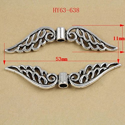 HYBEADS 20Piece 53x11mm Large Angel Wings Pewter Beads (Angel Wings Bead)