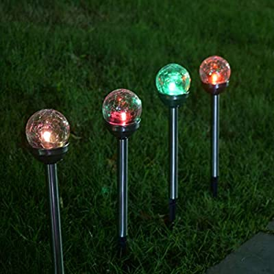 Euone LED Light, LED Solar Light Stainless Steel Lawn Lamp Garden Waterproof Decorative Light 4pc: Sports & Outdoors