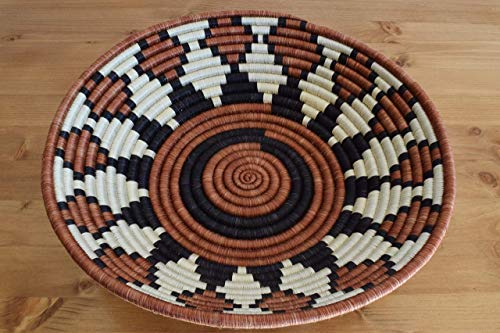 Hand Woven African Basket - Decorative Woven Bowl - African Gift - Sisal & Sweetgrass Basket Handmade in Rwanda ~12'', Gingerbread/Cinnamon Brown, Black, - Hand Woven Basket Africa
