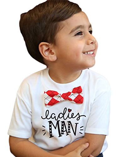 Noah's Boytique Toddler Boy Valentines Day Outfit with Red Argyle Bow Tie Red Ladies Man Cute Funny Valentines Shirt 2/3T -