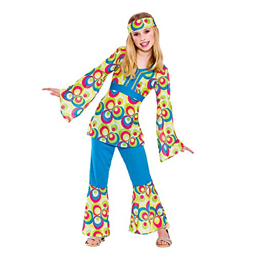 Girls Retro Hippie Girl Fancy Dress Up Party Costume Halloween Child Outfit 70s -