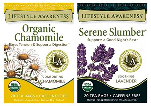 Lifestyle Awareness Organic Gluten Free Vegan Caffeine Free Herbal Tea 2 Flavor Variety Bundle: (1) Serene Slumber with Lavender Tea, and (1) Chamomile Tea, 20 Bags - 1 Serena