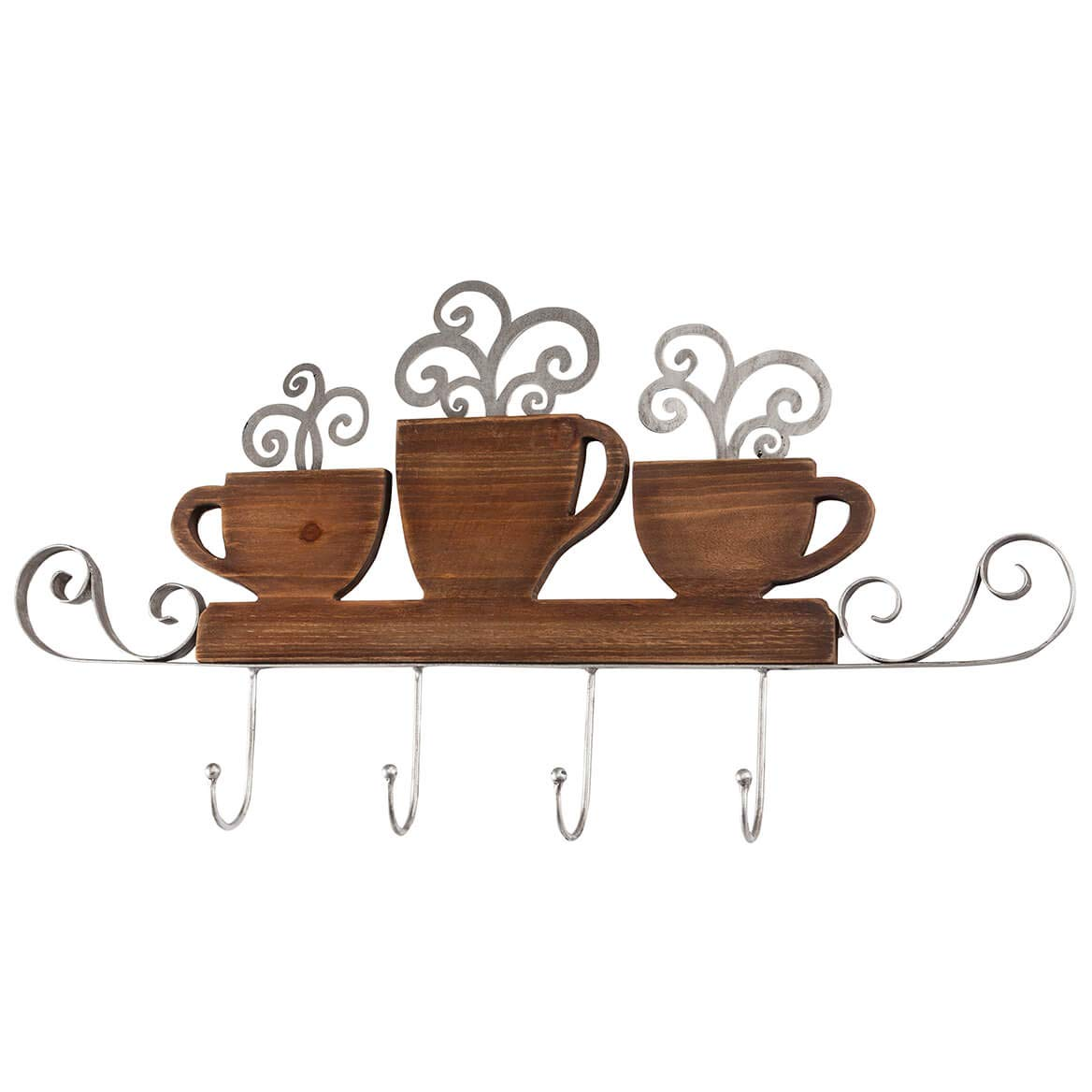 Brown Accent Wall Mount 4-Hook Coffee Shop Coat Hanger, 28'' Wide x 15'' high